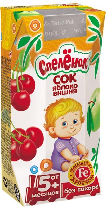 """Сок """"Яблоко-Вишня, обогащенный железом (осветленный, без сахара)"""" 200 мл """"Спеленок"""""""