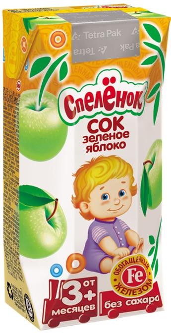"""Сок яблочный из зеленых яблок, обогащенный железом, осветленный, без сахара 200 мл """"Спеленок"""""""