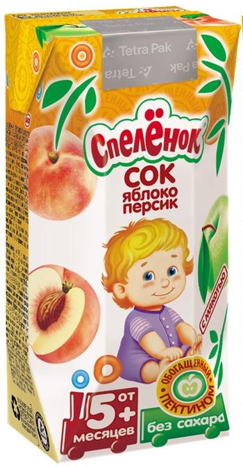 """Сок """"Яблоко-Персик, обогащенный пектином (с мякотью, без сахара)"""" 200 мл """"Спеленок"""""""