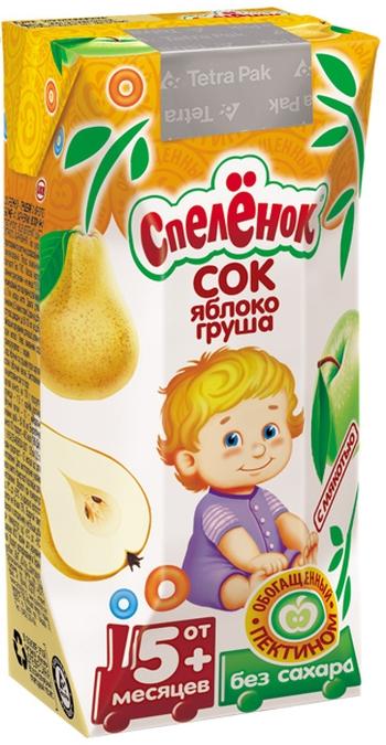 """Сок """"Яблоко-Груша, обогащенный пектином (с мякотью, без сахара)"""" 200 мл """"Спеленок"""""""