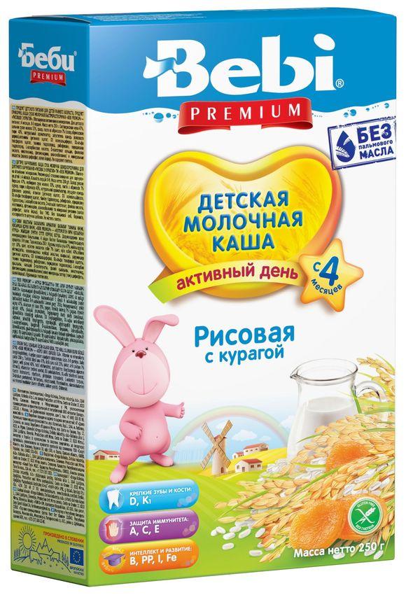 """""""Беби"""" каша """"Bebi Premium"""" молочная """"Рисовая с курагой"""" 250,0"""
