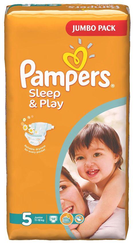 """Подгузники Памперс """"Pampers Sleep & Play №5 (11-18 кг), с ароматом ромашки"""" 58 штук в упак."""