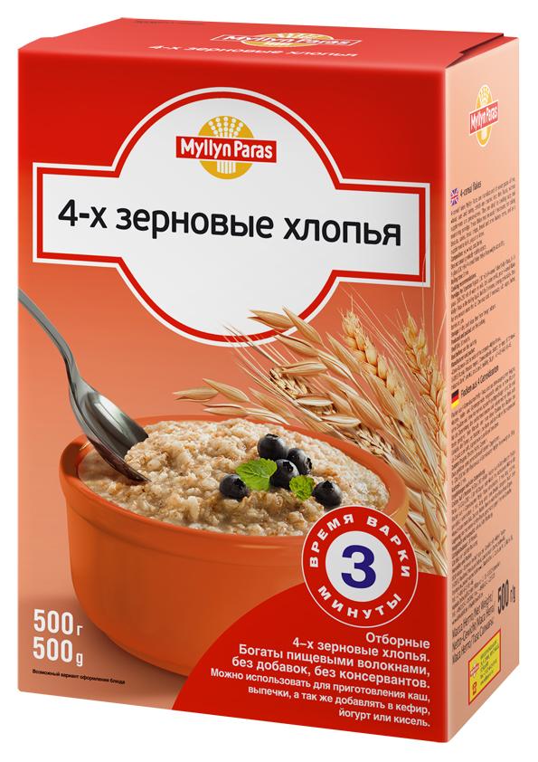 """""""Мюллюн Парас"""" каша безмолочная """"4-х зерновые хлопья (рожь, пшеница, овес и ячмень)"""" 500,0"""