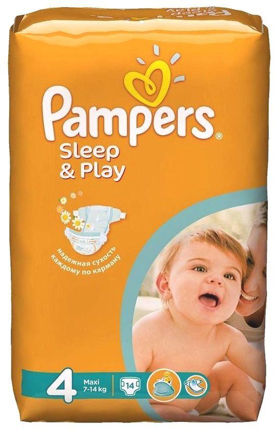 """Подгузники Памперс """"Pampers Sleep & Play №4 (7-14 кг), с ароматом ромашки"""" 14 штук в упак."""