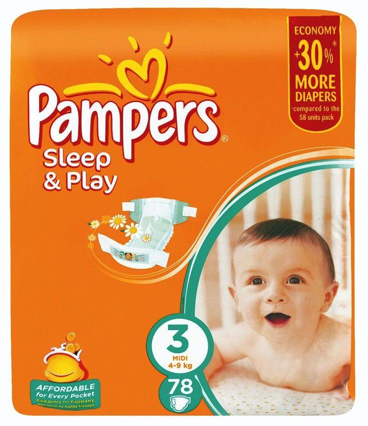 """Подгузники Памперс """"Pampers Sleep & Play №3 (4-9 кг), с ароматом ромашки"""" 78 штук в упак."""
