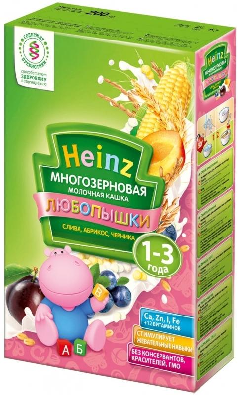 """""""Хайнц"""" каша """"Heinz"""" ЛЮБОПЫШКИ """"СЛИВА, АБРИКОС, ЧЕРНИКА (многозерновая кашка фруктово-молочная, с пребиотиками)"""" 200,0"""