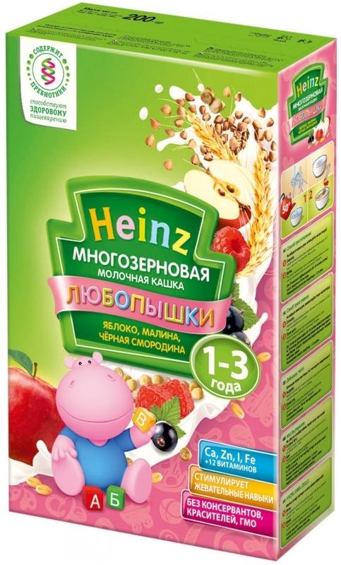 """""""Хайнц"""" каша """"Heinz"""" ЛЮБОПЫШКИ """"ЯБЛОКО, МАЛИНА, ЧЕРНАЯ СМОРОДИНА (многозерновая кашка фруктово-молочная, с пребиотиками)"""" 200,0"""