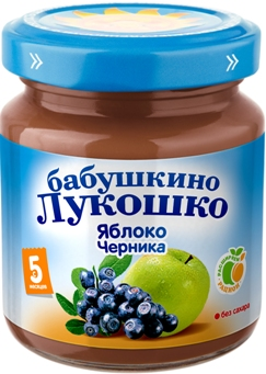 "Пюре ""Яблоко-Черника (без сахара)"" 100,0 ""Лукошко"""