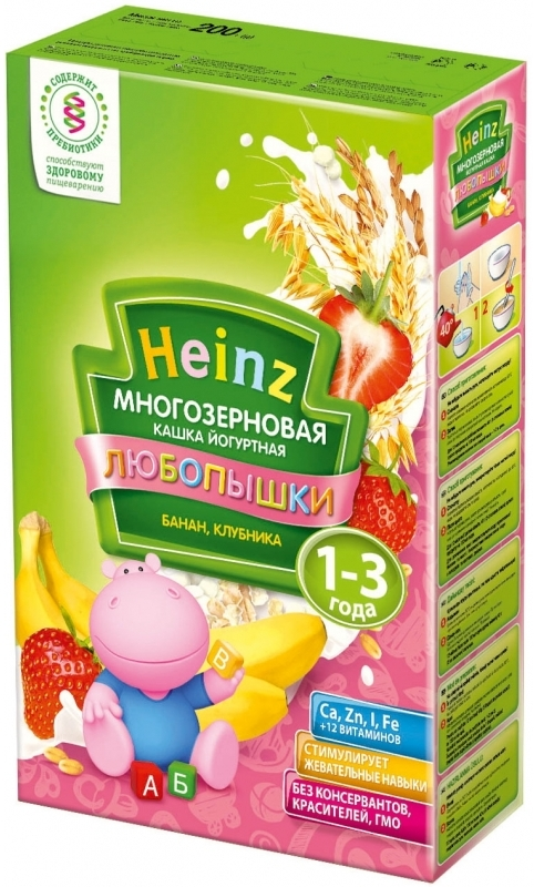 """""""Хайнц"""" каша """"Heinz"""" ЛЮБОПЫШКИ """"БАНАН, КЛУБНИКА (многозерновая кашка фруктово-йогуртная, с пребиотиками)"""" 200,0"""