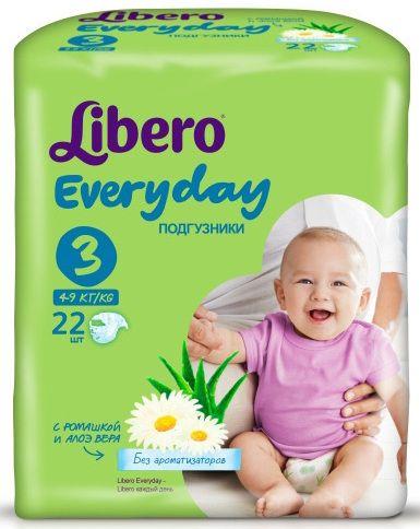 """Подгузники Либеро """"Libero Every day №3 (4-9 кг)"""" 22 штуки в упак. (с экстрактом ромашки и алоэ)"""