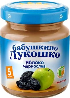 """Пюре """"Яблоко-Чернослив (без сахара)"""" 100,0 """"Лукошко"""""""