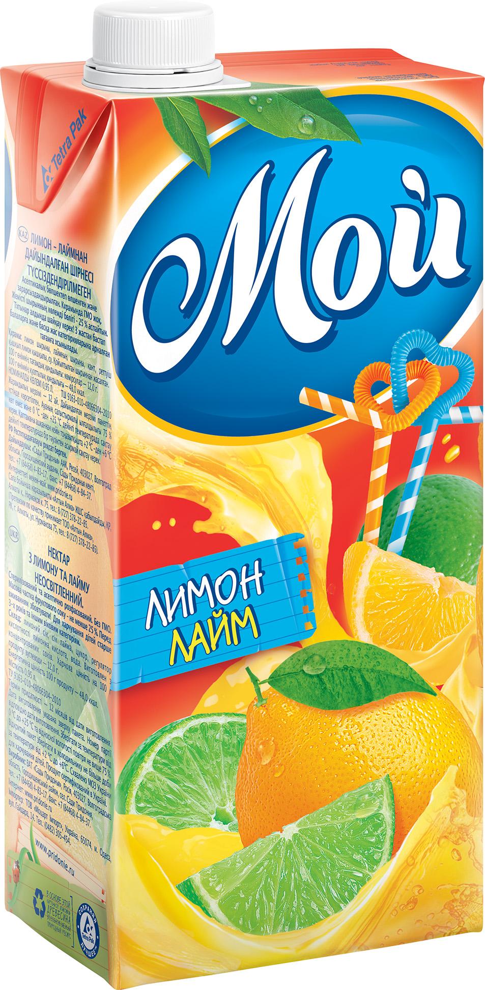 """Нектар """"Лимон-Лайм (неосветленный)"""" 950 мл """"Мой"""""""