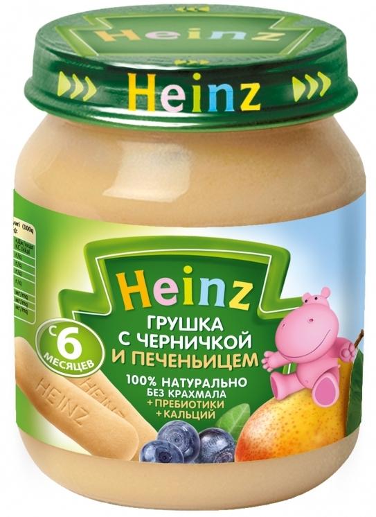 """Пюре """"Грушка с черничкой и печеньицем (с пребиотиками, обогащенное кальцием, с вит.С)"""" 120,0 """"Хайнц"""""""