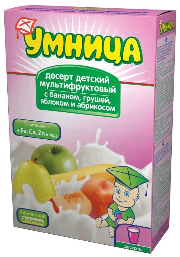 """""""Умница"""" десерт детский """"Мультифруктовый с бананом, грушей, яблоком и абрикосом"""" 250,0"""