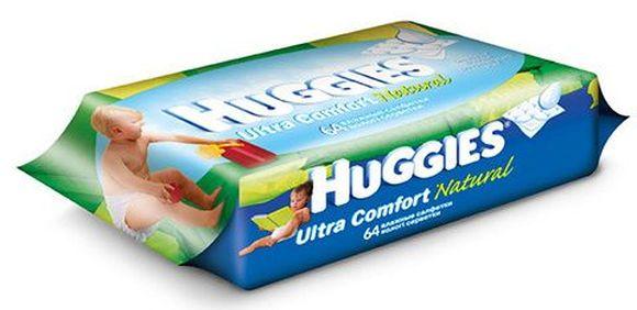 """Салфетки детские влажные """"Huggies Ultra Comfort Natural (без спирта и отдушки)""""  64 шт в упак."""