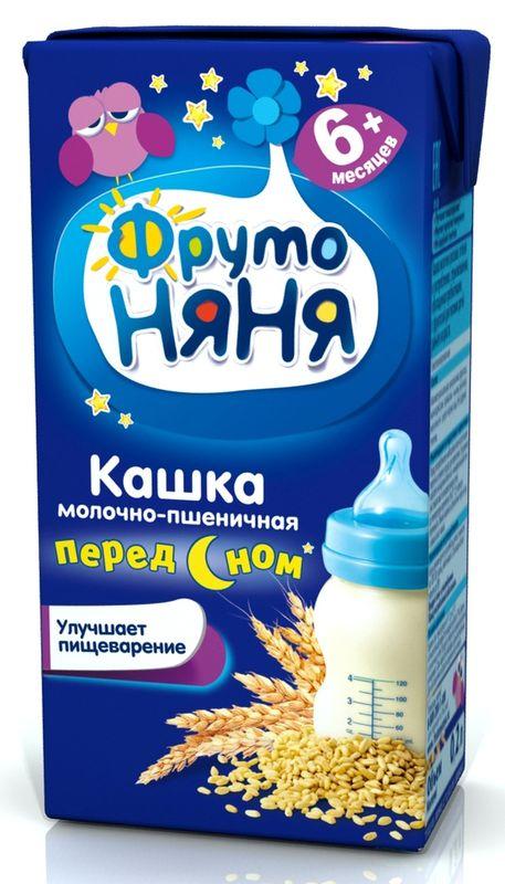 """""""Фрутоняня"""" каша жидкая молочная """"Кашка молочно-пшеничная ПЕРЕД СНОМ"""" 200 мл (готовая к употреблению, с пребиотиками, без соли и сахара, с фруктозой)"""