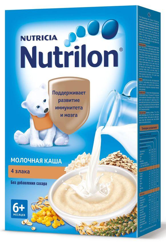 """Нутрилон"" каша ""Nutrilon"" молочная ""4 злака (овес, рис, кукуруза, гречка)"" (без соли и сахара, с пребиотиками, на основе детской молочной смеси) 225,0"