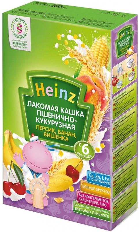 """Хайнц"" каша ""Heinz"" молочная ""Лакомая кашка пшенично-кукурузная ПЕРСИК, БАНАН, ВИШЕНКА (с пребиотиками)"" 200,0"