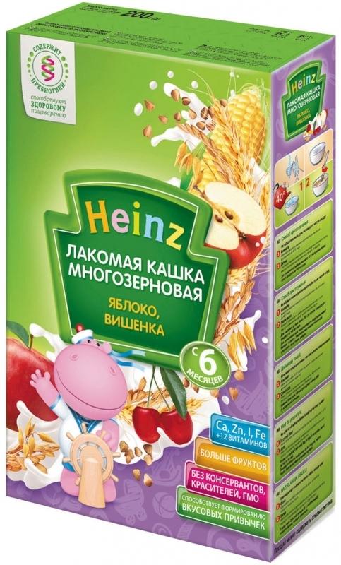"""""""Хайнц"""" каша """"Heinz"""" молочная """"Лакомая кашка многозерновая ЯБЛОКО, ВИШЕНКА (с пребиотиками)"""" 200,0"""