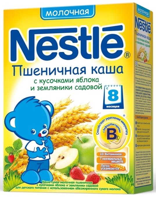 """""""Нестле"""" каша молочная """"Пшеничная с кусочками яблока и земляники садовой"""" (с сахаром, с бифидобактериями) 250,0"""