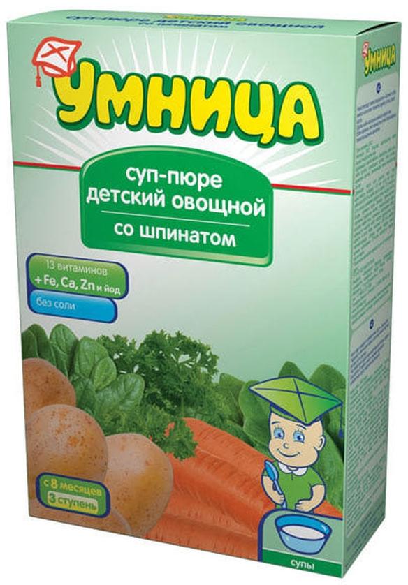 """""""Умница"""" суп-пюре детский овощной """"Со шпинатом"""" (без соли) 250,0"""