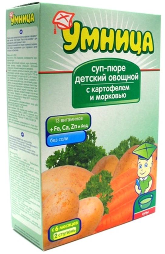 """""""Умница"""" суп-пюре детский овощной """"С картофелем и морковью"""" (без соли) 250,0"""