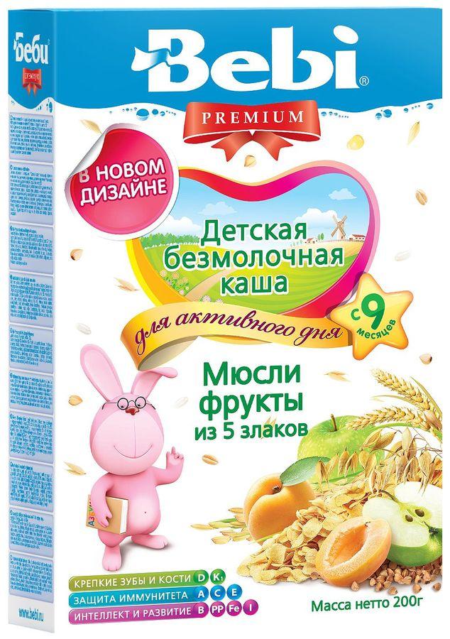 """""""Беби"""" каша """"Bebi Premium"""" безмолочная """"Мюсли, фрукты (из 5-ти злаков)"""" 200,0"""