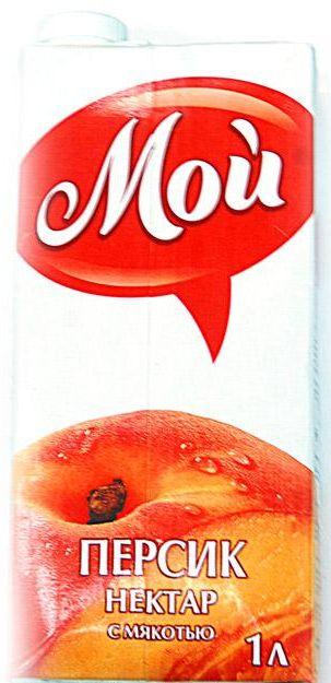 """Нектар персиковый с мякотью 1000 мл """"Мой"""""""
