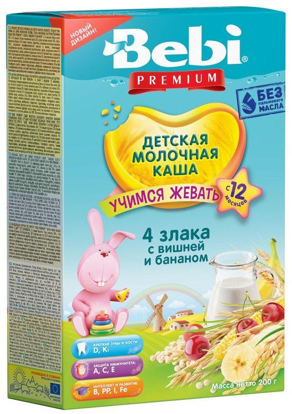 """""""Беби"""" каша """"Bebi Premium"""" молочная """"4 злака с вишней и бананом (""""Учимся жевать"""")"""" 200,0"""