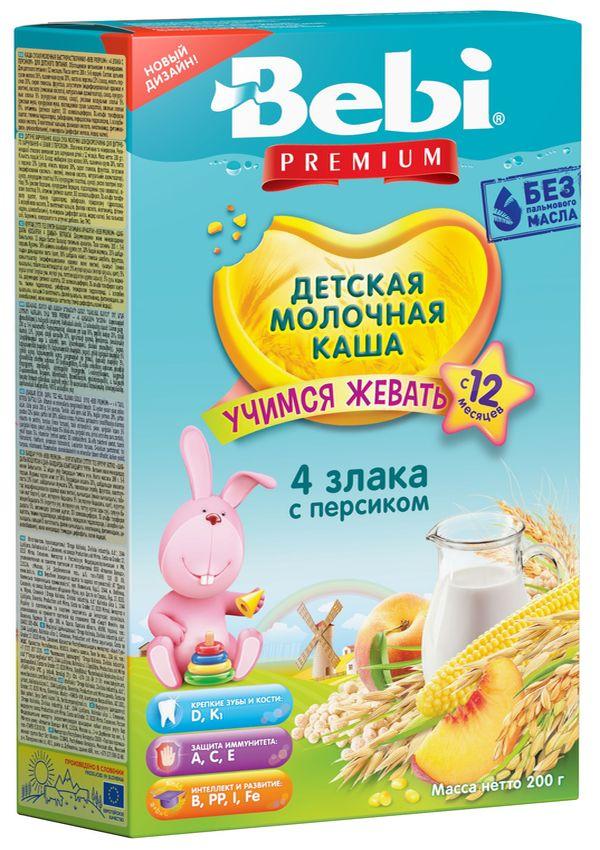 """""""Беби"""" каша """"Bebi Premium"""" молочная """"4 злака со сливками и персиком (""""Учимся жевать"""")"""" 200,0"""