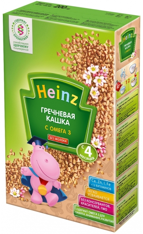 """""""Хайнц"""" каша """"Heinz"""" безмолочная """"Гречневая кашка с ОМЕГА 3 (с пребиотиками)"""" 200,0"""