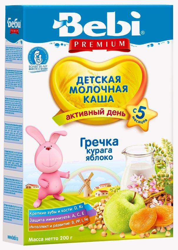 """""""Беби"""" каша """"Bebi Premium"""" молочная """"Гречка, курага, яблоко"""" 200,0"""