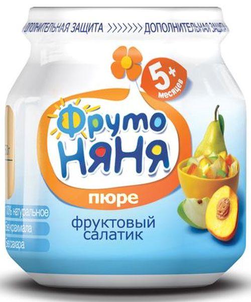 """Пюре """"Фруктовый салатик (из яблок, груш и персиков, без сахара)"""" 100,0 """"ФрутоНяня"""""""