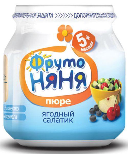 """Пюре """"Ягодный салатик (из яблок, черники и вишни, с фруктозой)"""" 100,0 """"ФрутоНяня"""""""