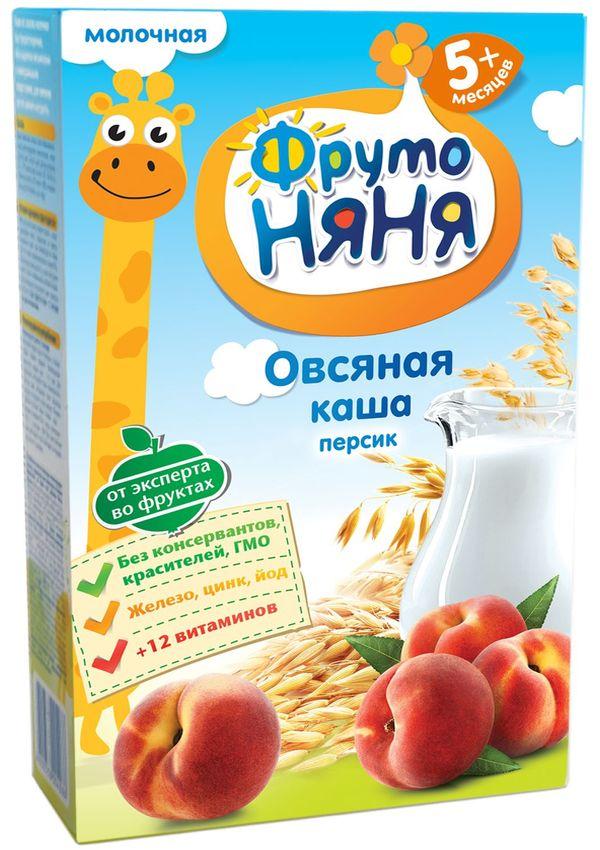 """""""ФрутоНяня"""" каша молочная """"Овсяная с персиком"""" 200,0 (с инулином, без соли)"""