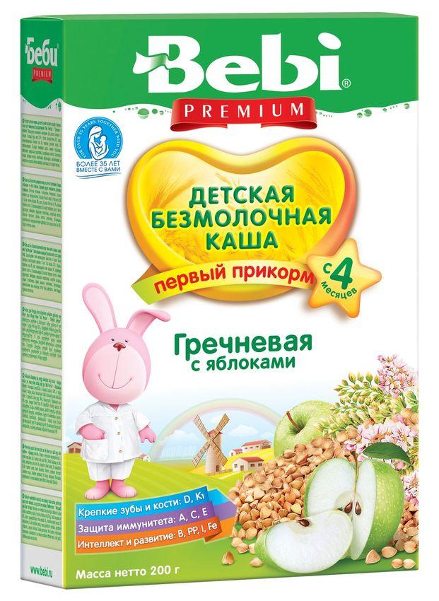 """""""Беби"""" каша """"Bebi Premium"""" безмолочная """"Гречневая с яблоками"""" 200,0"""
