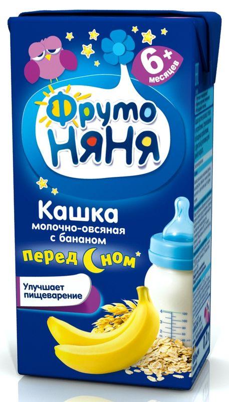 """""""Фрутоняня"""" каша жидкая молочная """"Кашка молочно-овсяная с бананом ПЕРЕД СНОМ"""" 200 мл (готовая к употреблению, с пребиотиками, без соли и сахара, с фруктозой)"""