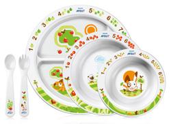 """Набор тарелок и столовых приборов 6m+ (подарочный, из 5-ти предметов: три тарелки, вилка, ложка), SCF716/00, """"AVENT"""""""