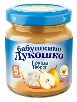 """Пюре """"Груша с творогом (без сахара)"""" 100,0 """"Лукошко"""""""