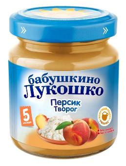 """Пюре """"Персик с творогом (без сахара)"""" 100,0 """"Лукошко"""""""
