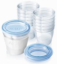 """Набор контейнеров для хранения молока и кормления (10 штук по 180мл с крышками, 2 адаптера), SCF612/10, """"AVENT"""""""
