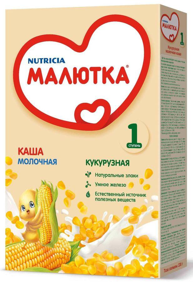"""""""Малютка""""  каша молочная кукурузная 220,0 (без соли, на основе детской молочной смеси)"""