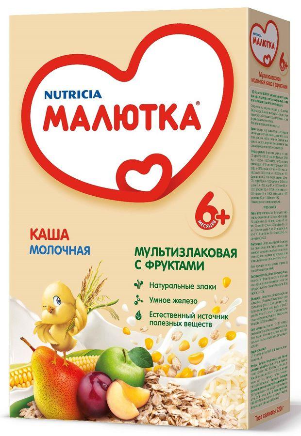 """""""Малютка""""  каша молочная мультизлаковая с фруктами 220,0 (без соли, на основе детской молочной смеси)"""