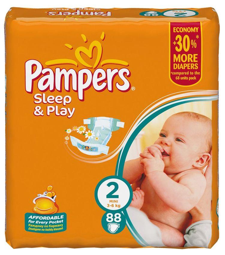 """Подгузники Памперс """"Pampers Sleep & Play №2 (3-6 кг), с ароматом ромашки"""" 88 штук в упак."""