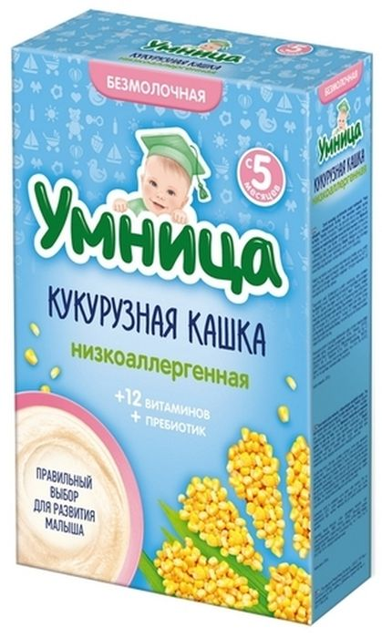 """Умница"" каша безмолочная низкоаллергенная кукурузная (без сахара, с инулином) 200,0"