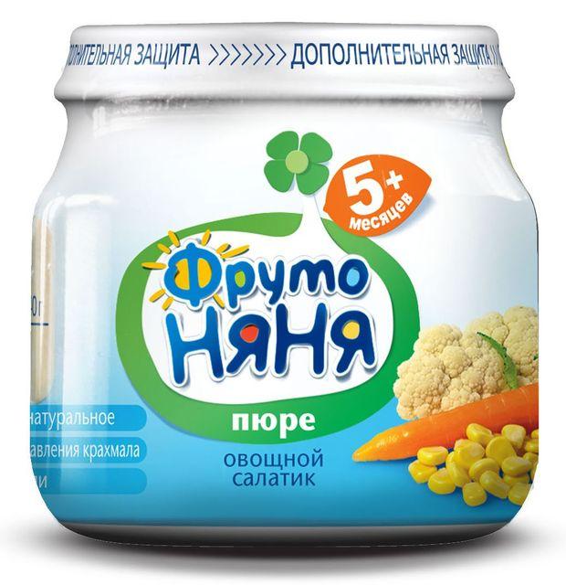 """Пюре """"Овощной салатик (из цветной капусты, кукурузы и моркови, без соли)"""" 80,0 """"ФрутоНяня"""""""