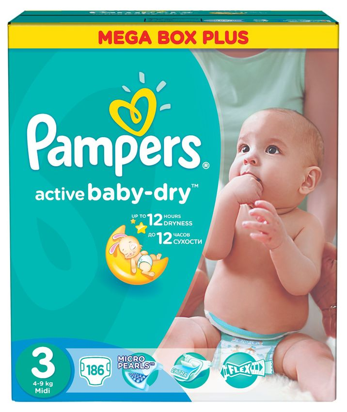 "Подгузники Памперс ""Pampers active baby-dry №3 (4-9 кг)"" 186 штук в упак."