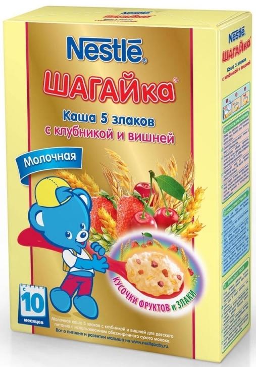 """""""Нестле"""" каша молочная ШАГАЙка """"5 злаков с клубникой и вишней"""" ((пшеница, овес, рис, ячмень, кукуруза), с сахаром, с мальтодекстрином, с бифидобактериями) 200,0"""