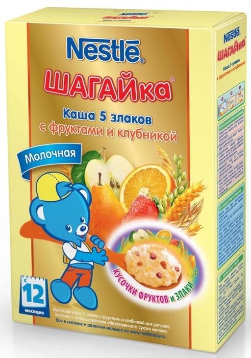 """""""Нестле"""" каша молочная ШАГАЙка """"5 злаков с фруктами и клубникой"""" ((пшеница, овес, рис, ячмень, кукуруза), с сахаром, с бифидобактериями) 200,0"""