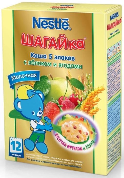 """""""Нестле"""" каша молочная ШАГАЙка """"5 злаков с яблоком и ягодами"""" ((пшеница, овес, рис, ячмень, кукуруза), с сахаром, с бифидобактериями) 200,0"""